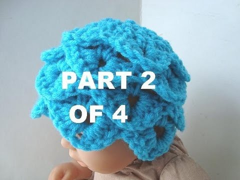 How to crochet a CROCODILE STITCH BABY HAT, PART 2 OF 4. - YouTube