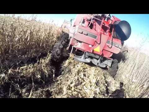 Combine Stuck In Deep Mud