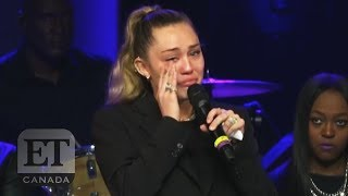 Miley Cyrus In Tears At Janice Freeman Memorial thumbnail