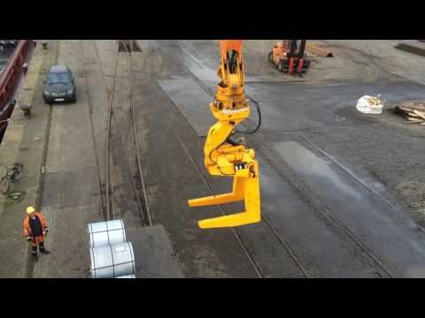 MANTSINEN - 200 M Material Handler, Steel coil unloading with double C-hook