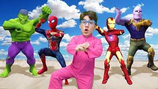 슈퍼히어로 함께 춤춰요!! 스파이더맨 아이어맨 헐크 타노스 슈퍼히어로 신나는 댄스 Dancing Superheros Surprise