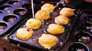 Japanese Street Food - NINJA TAKOYAKI Black Octopus Balls Osaka Japan