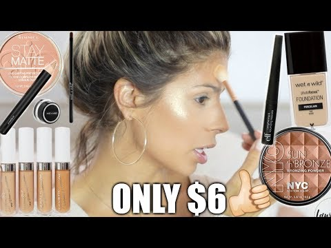 FULL FACE NOTHING OVER $6 & WAVY HAIR TUTORIAL