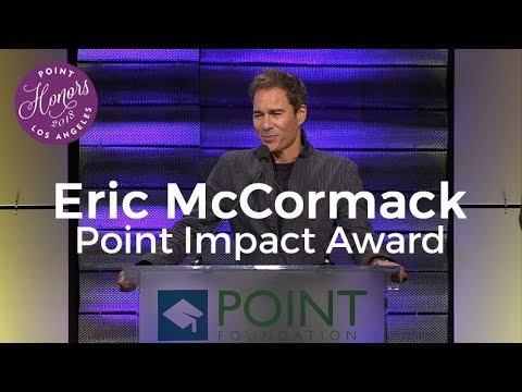 Eric McCormack accepts the Point Impact Award at Point Honors LA 2018
