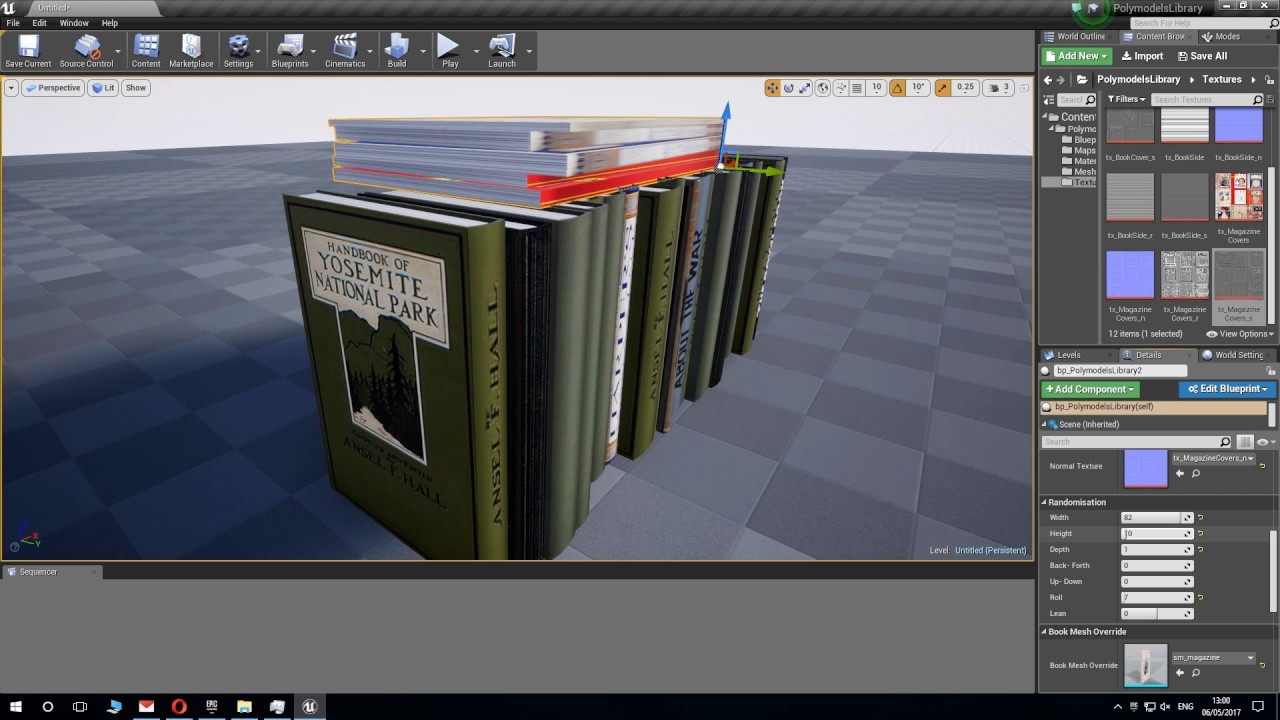 PolymodelsLibrary (UE4) procedural book generator blueprint