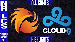 phoenix 1 vs cloud 9 highlights all games na lcs w5d3 spring 2017 p1 vs c9 all games