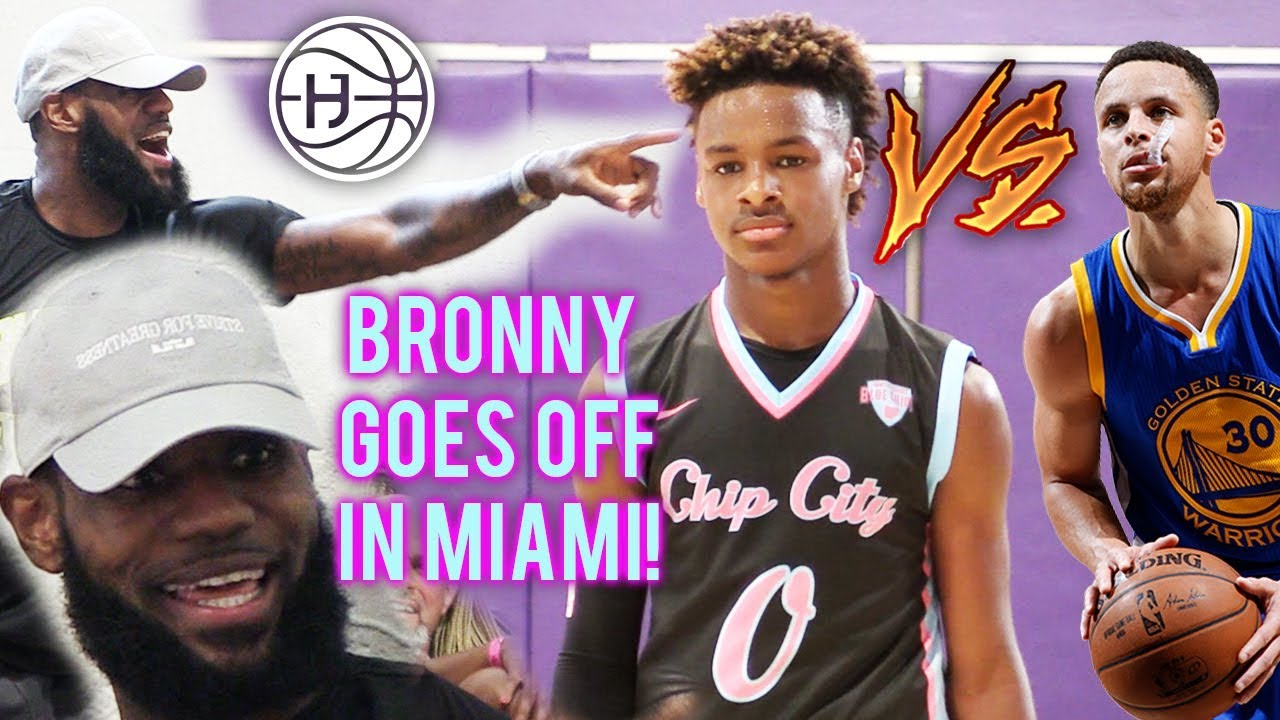 buy online e41fe e76e6 LeBron James WATCHES BRONNY VS STEPH CURRY JR in SOUTH BEACH! King James  Back 2 Miami?!?!
