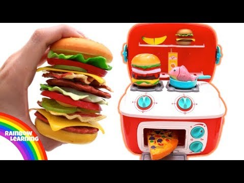 Toy Hamburger Playset Learn Fruit & Vegetables Play Doh Kitchen Pretend Play for Kids
