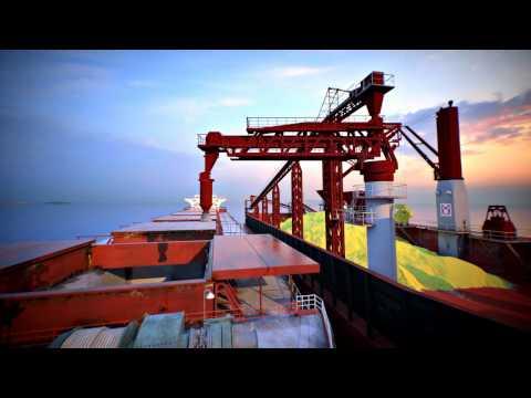 Barge animation - sulfur transportation