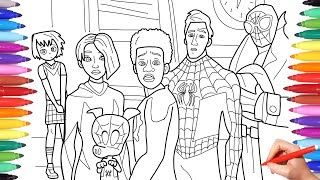 Spider Man Into The Spider Verse Coloring Pages How To Draw All Spiderverse Characters Youtube