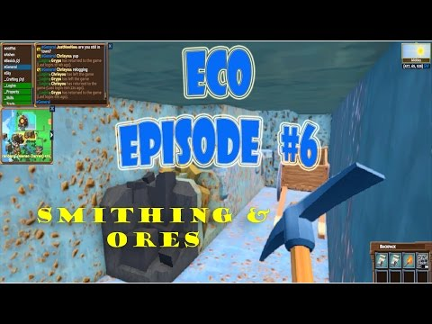 Eco 5.5 gameplay episode 6 | Smithing | industry?!? | iron gold copper |