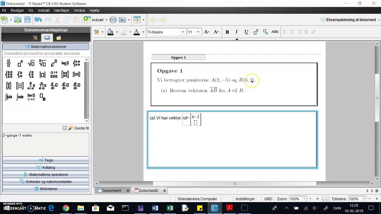 TINspire: vektor mellem to punkter