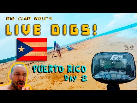 Beach Metal Detecting Puerto Rico - Day 2 - Coins! - Live Digs