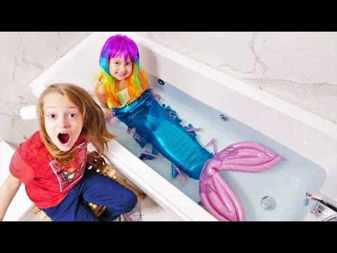 Cómo convertirse en una Sirena. Vídeo de juguetes para niñas.