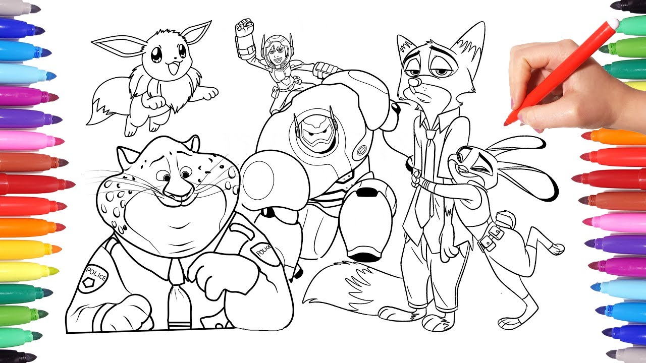Cartoon Characters Coloring Book Page 9 Zootopias Judy And Nick Eevee Pokemon Big Hero 6