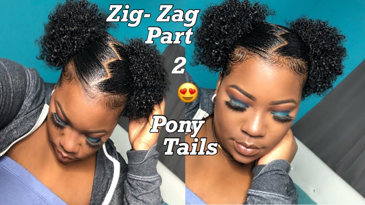 Zig Zag Part 2 Ponytails On Natural Hair Youtube