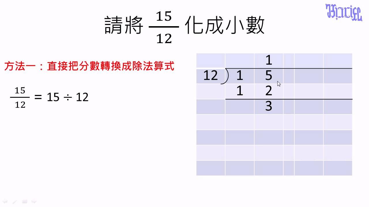 小數 - (28)分數轉換成為小數的方法1 - YouTube