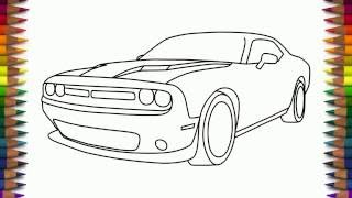 How to draw Dodge Challenger RT Scat pack step by step