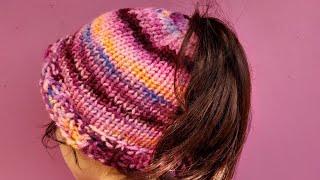 Messy bun hat, knit on addi express