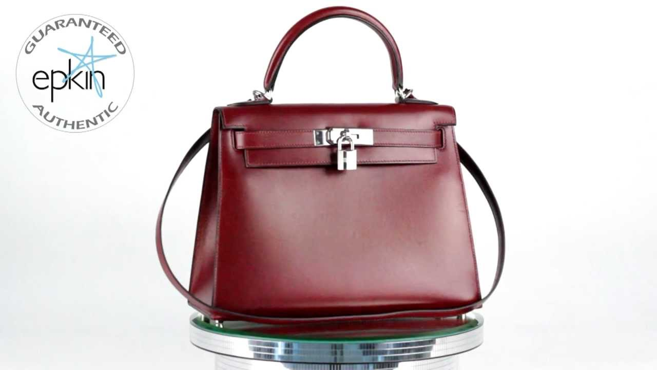 Hermes Kelly 28CM Black Box Calf Leather Tote Rouge H Handbag Bag ...