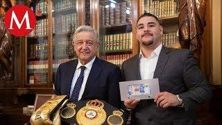 AMLO recibe al campeón de boxeo Andy Ruiz en Palacio Nacional