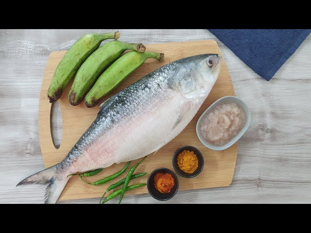 নতুন রাঁধুনিদের জন্য কাঁচা কলা দিয়ে ইলিশ মাছ রান্না। Ilish Curry with Green Banana
