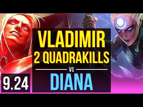 VLADIMIR Vs DIANA (MID) | 2 Quadrakills, 1.7M Mastery Points, 1500+ Games | BR Grandmaster | V9.24