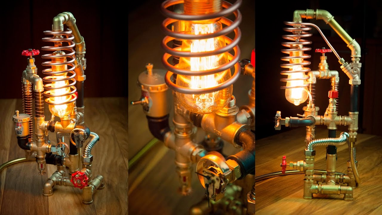steampunk diy industrial pipe lamp 3 youtube. Black Bedroom Furniture Sets. Home Design Ideas