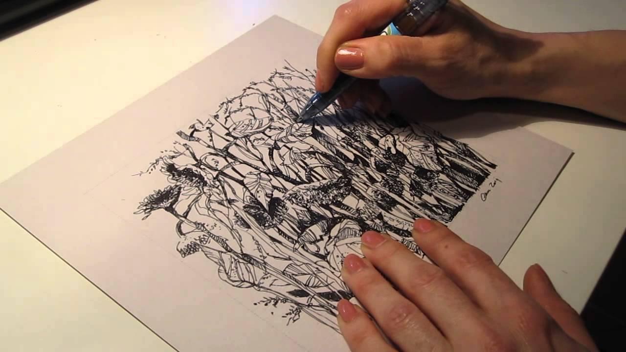 Amato Chiara's room - campo di girasoli sfioriti, disegno al tratto  AE79