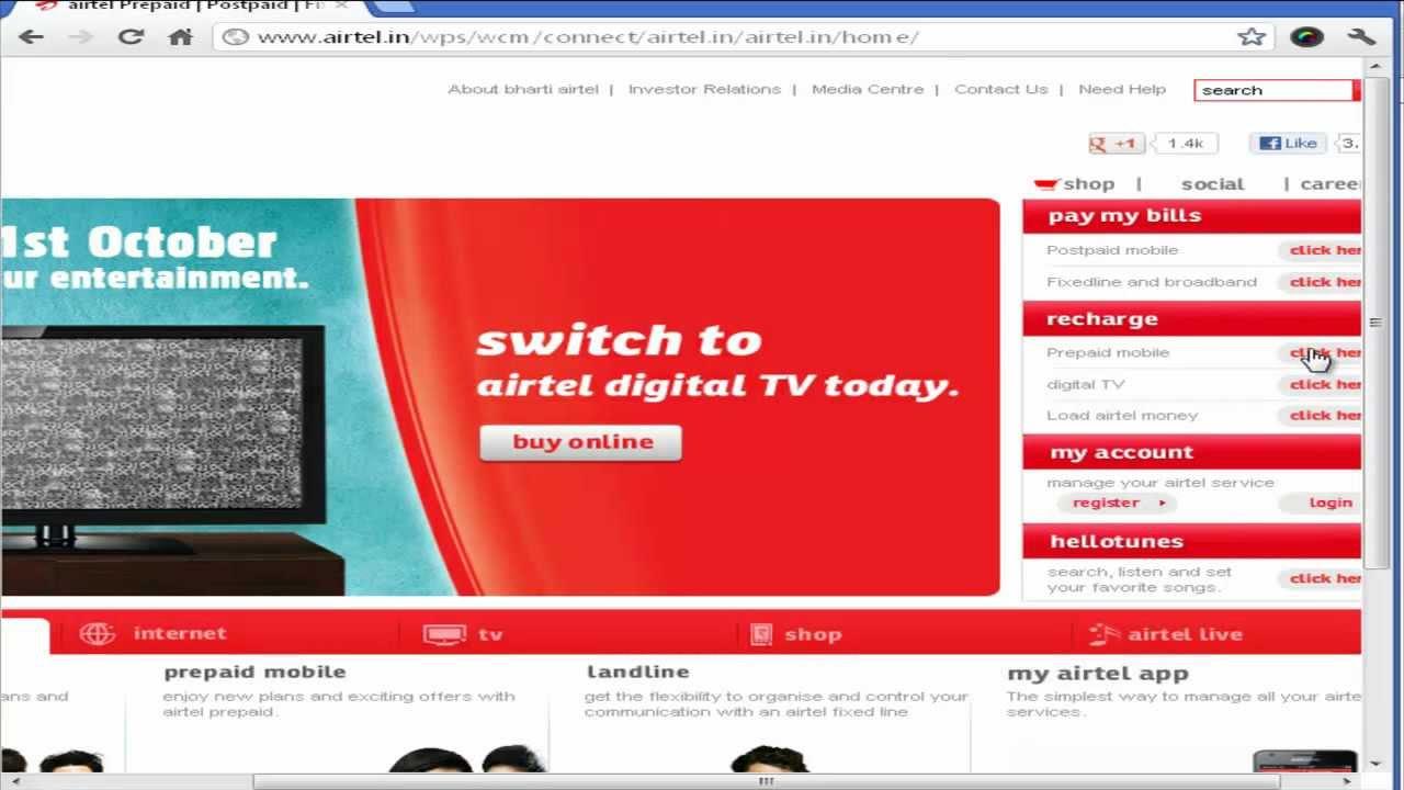 airtel online recharge using sbi debit card for prepaid