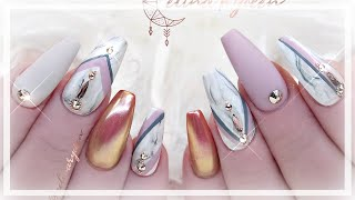 NAIL ART TUTORIAL | MARBLE & ROSE GOLD CHROME BALLERINA GEL NAILS | WATCH ME WORK & CHIT CHAT