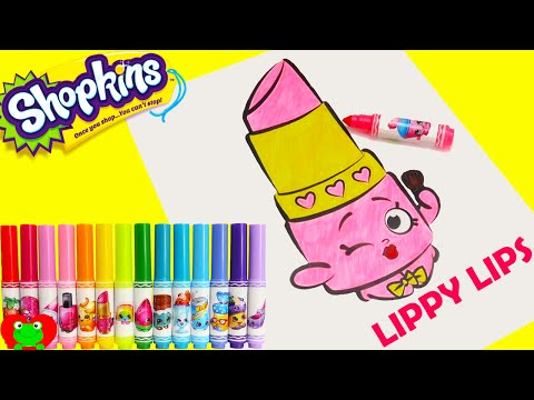 Shopkins Crayola Markers and Lippy Lips Coloring Page Toy Genie