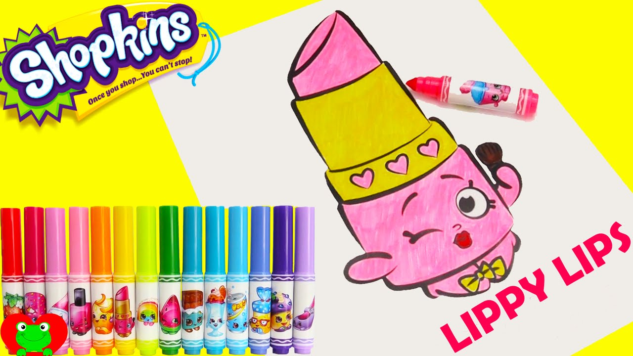 Shopkins Crayola Markers And Lippy Lips Coloring Page Toy Genie   YouTube