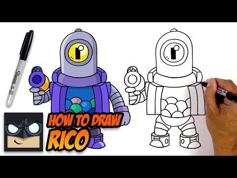 How To Draw Brawl Stars Rico Step By Step Tutorial Youtube