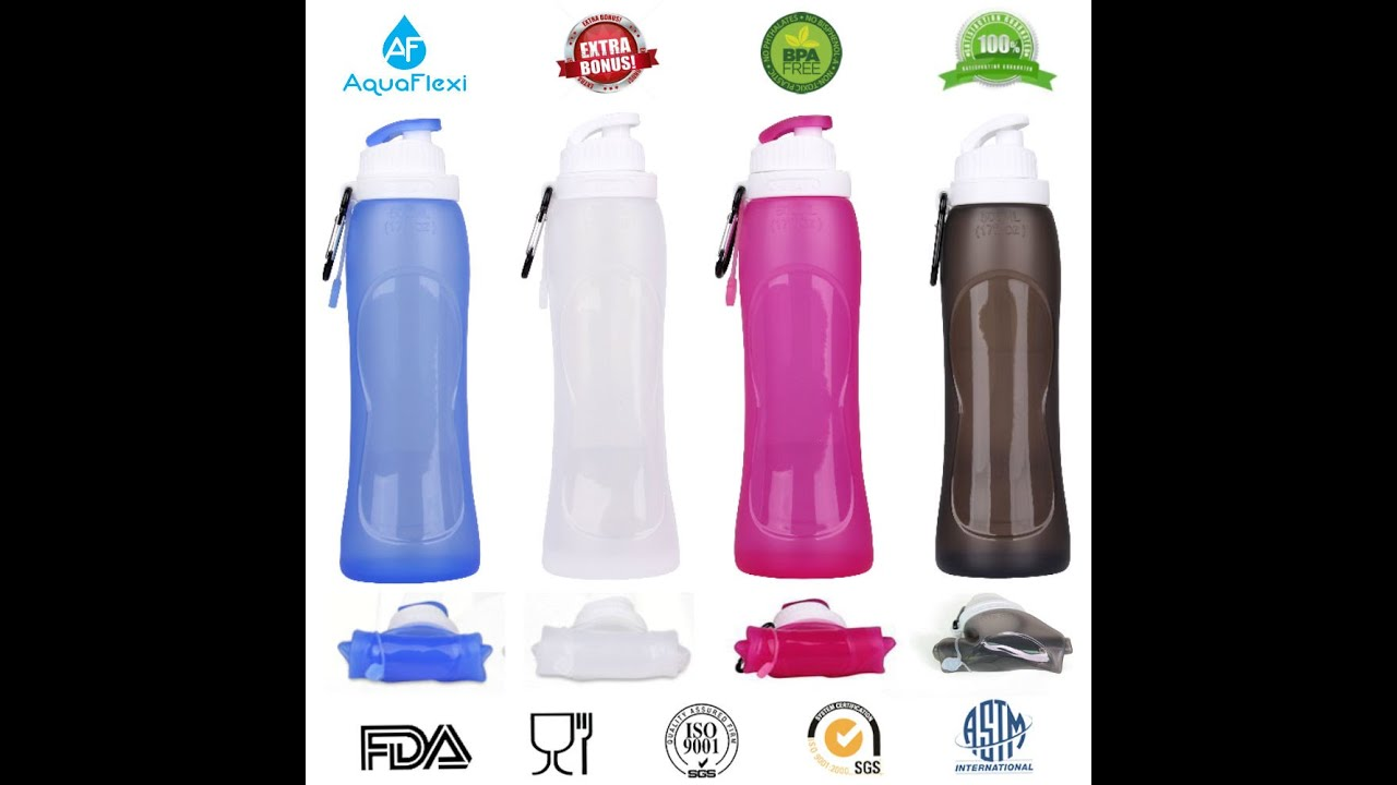 Water Bottle Youtube: AquaFlexi Collapsible Water Bottle Foldable, Flexible