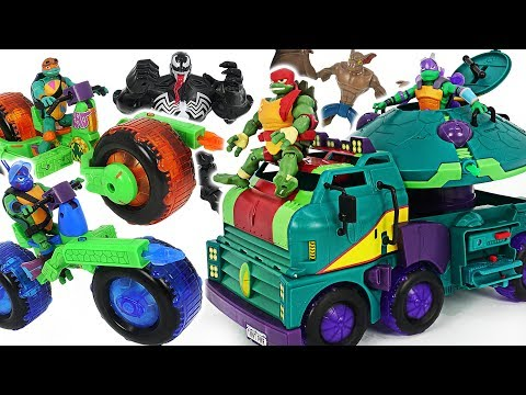Rise of the Teenage Mutant Ninja Turtles transform Turtle Tank, Shell Hog motorcycle Go! #DuDuPopTOY