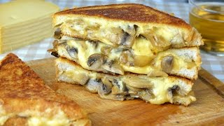 Mushroom, Onion & Gouda Cheese Sandwich - Grilled Cheese Sandwich with Sauteed Mushrooms & Onion