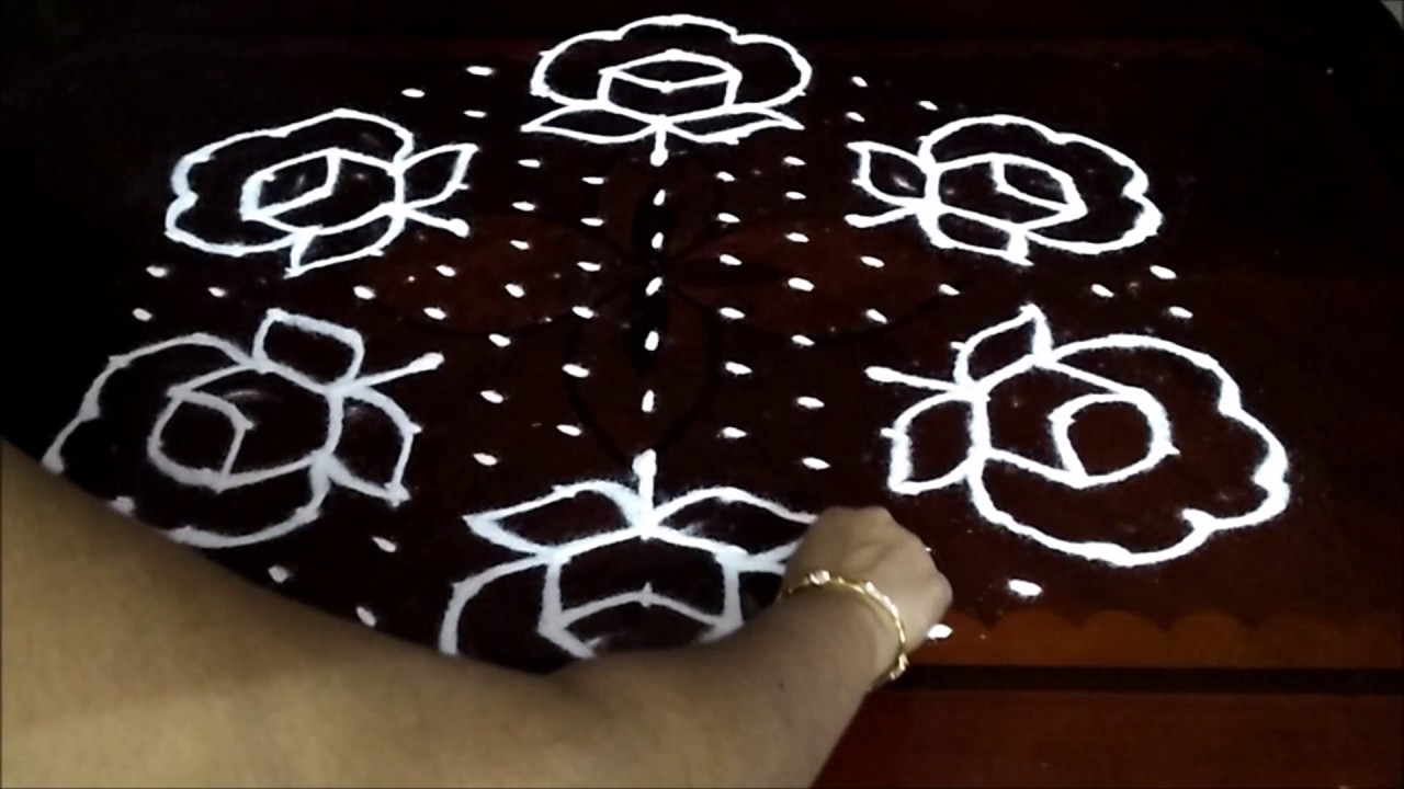 Rose flower kolam designs with 15 8 middle chukkala for Dots design apartment 8