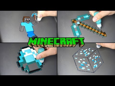 Minecraft Real Life Pancake Art  - Steve, Dia Ore, Gem, Pickaxe / Satisfying Video For Kids