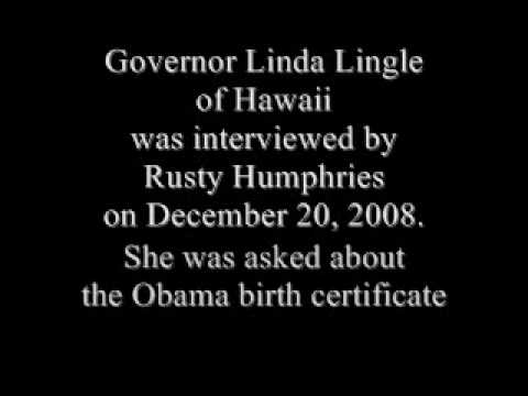 Linda Lingle, Hawaii Governor interview about Obama Birth Certificate December 20, 2008
