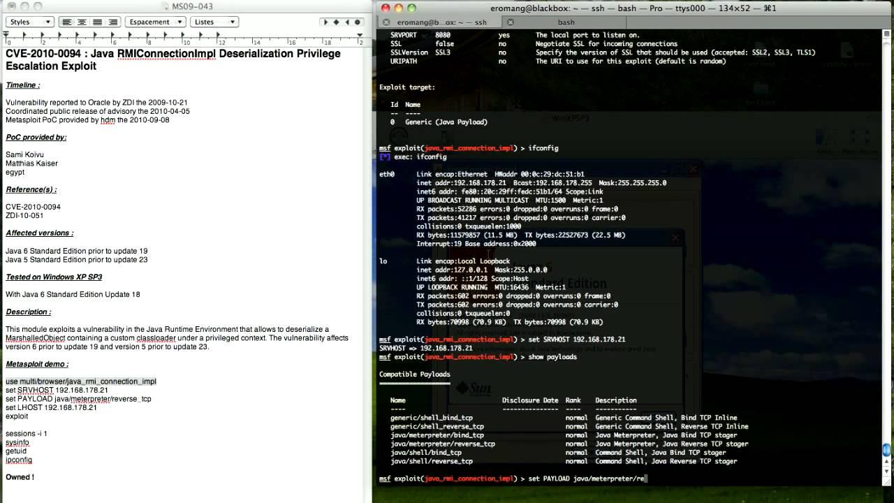 CVE-2010-0094 : Java RMIConnectionImpl Deserialization Privilege Escalation  Exploit