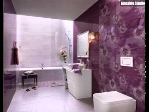 lila weiße blumen badezimmer keramik fliese - youtube, Hause ideen