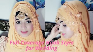 Full Coverage Hijab for wedding   Side flower with Duptta