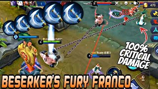 100% CRITICAL DAMAGE FRANCO 😱🔥 BERSERKER'S FURY ONLY FRANCO BUILD| WOLF XOTIC | MOBILE LEGENDS