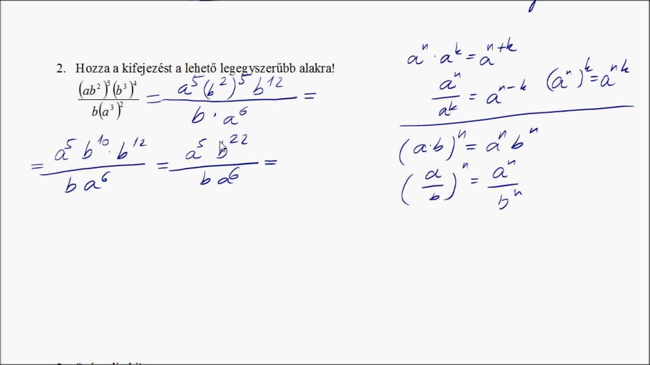 9. o. Algebra mintatémazáró megoldása