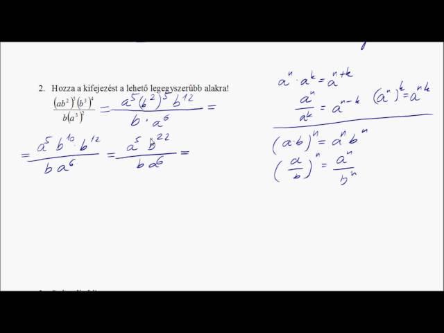 1. Algebra témazáró megoldása