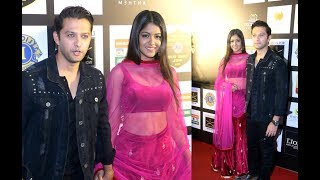 Newly married Vatsal Seth And Ishita Dutta At Lions Gold Awards 2018 Red Carpet