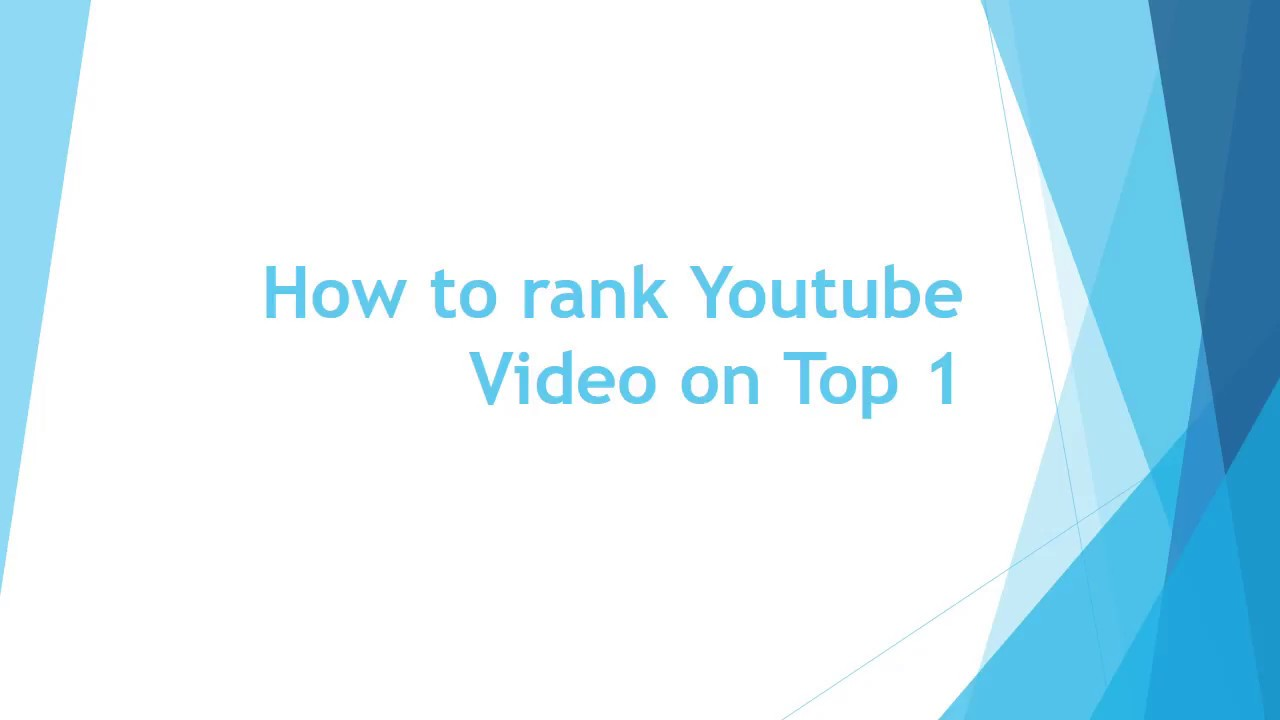 How to rank Youtube Video on Top 1
