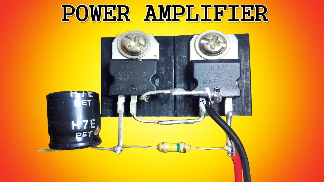 hight resolution of mini power audio amplifier circuit using 2 transistors