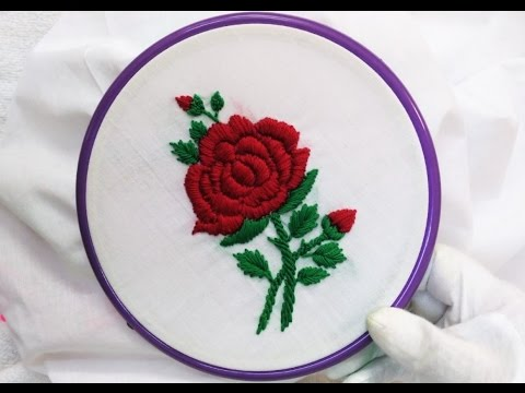Easy Hand Embroidery Rose With Padded Satin Stitch Youtube